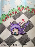 Chibi Ara|Nibbling on a fish by animalover4six
