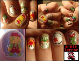 mario 8-bit nails 2 by Ninails