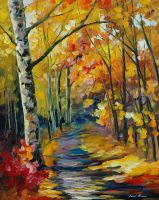 Birch forest by Leonid Afremov by Leonidafremov