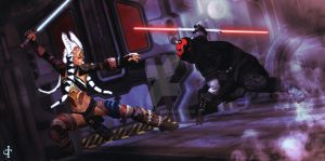 Darth Maul and Shaak Ti by Zoon3d