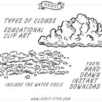 Types of Clouds Hand Sketched 19 Cliparts by Nedti by Nedti