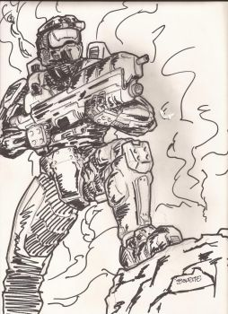 Sketch of Master Chief by BreteKosan