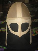 Wood and Paper Viking Helm with Cheek Plates by WaterwalkerWoodworks