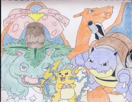 Charizard, Blastoise, Venusaur, and Raichu by Misfortunit