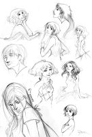 Women and a boy sketches by palnk