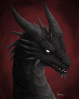 Black Dragon Head by LauraRamirez