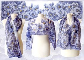 Silk scarf Pansy - hand painted by MinkuLul