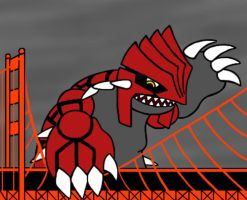 Art trade: Groudon-Zilla by pennywhistle444