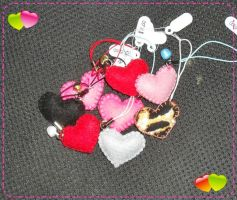 Heart Cellphone Felt charms by CamiHetfield