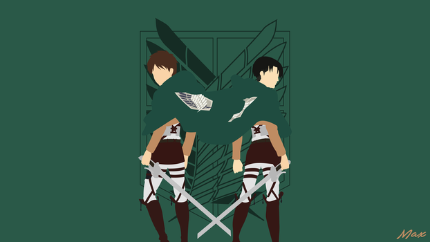 Eren and Levi (Shingeki No Kyojin) Minimal Wall by Max028