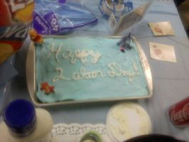 Baby Shower 'Happy Labor Day' Cake by JenniBee