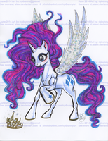 Crazy looking Princess Rarity alicorn by alaer