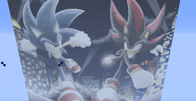 Minceraft: Sonic and Shadow by Sonaze-Knight