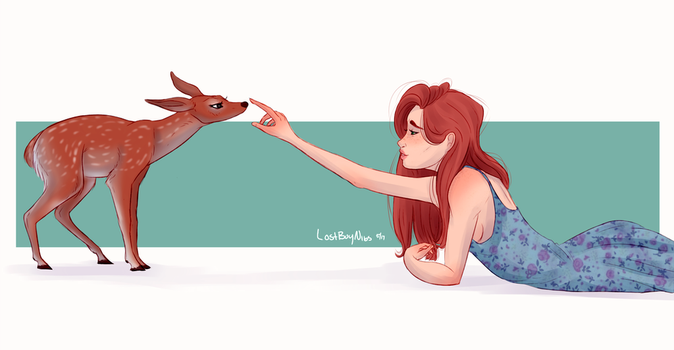 Lily and a fawn by l-lostboy
