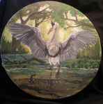 Grey Heron Totem Drum by Shadowind