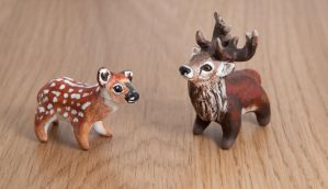 Stag and fawn polymer clay totems by lifedancecreations