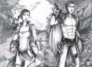 Gods of War ink - Athena and Ares