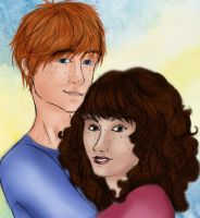 Ron and Hermione Portrait by solemnlyswear22