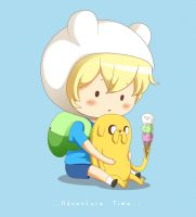 Chibi Finn and Jake - mouse drawn by Radical-Rhombus-XD