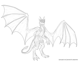 Anthro Draco Lineart by sugarpoultry