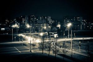 Cross-roads at night by TonsofPhotos