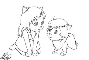 Wolf Children - Yuki and Ame by MortenEng21