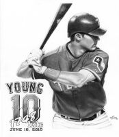 Michael Young - Texas Rangers by DFitchPencilArt