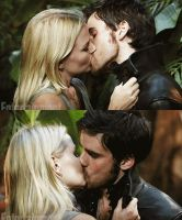killian and emma kiss by Bleach-Fairy