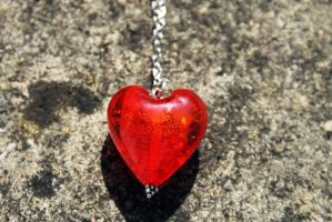 Red Glass Heart Necklace by Clerdy
