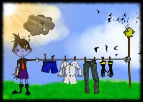 hanging up laundry : what a happyness ! by Loukho