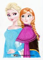 Frozen - Elsa and Anna by Sharsel