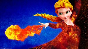 Burning (Fire Queen Elsa) by zabadoohp