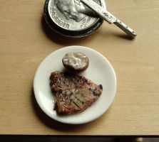 1:12 Scale T-bone Steak and Baked Potato by fairchildart