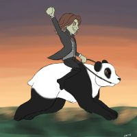 Rumplestiltskin riding a panda by winterelf86