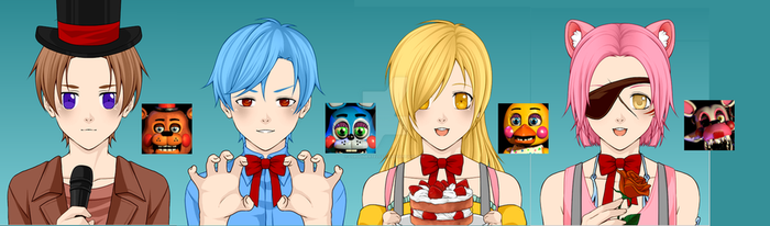 Five Nights at Freddys 2 Cast (Anime: Toys) by Lorddimertelo2231