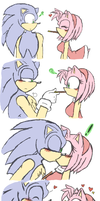 SonAmy- you want a kiss,,and i want the pocky. by LiaMenietowLove