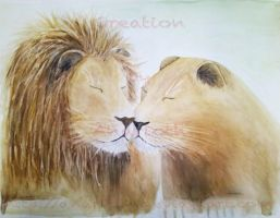 Lion and Lioness in Love by Anarloth