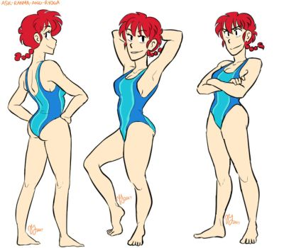Ranma 1/2 - Girl Ranma - Beachy studies by Ranryo82