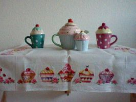 cross stitch table cloth cupcake by Anim-Soul