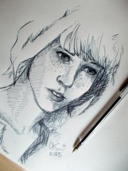 Maxine - Ballpoint Pen Portrait of the Day - 3 by Gavrani