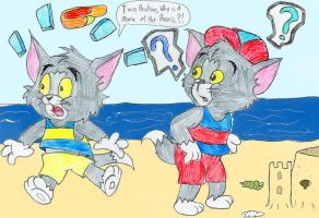 Tom and Tim at the Beach by ThrillingRaccoon