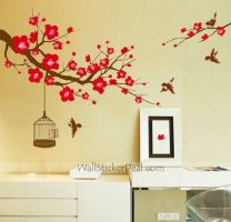 Plum Tree Flower With Birds and Birdcage Wall Stic by amandabetty