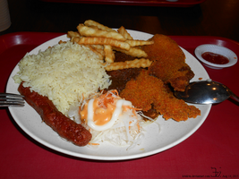 Fish chips rice and sausage _ 20150814 by K4nK4n