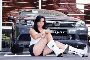 girl and new civic by fdjs