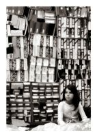 girl with boxes by bluretina