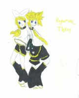 Len and Rin Kagamine -coloured- by FallenTributes