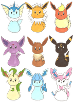 Eeveelutions by HikageDragon