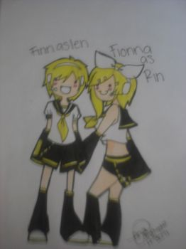 Finn and Fionna as Kagamine Twins by Freakypeguin