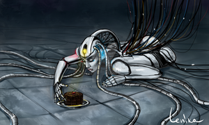 GlaDOS and chocolate cake by Lenika86