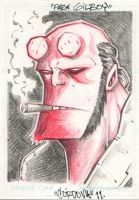 Hellboy Sketch Card comission by renecordova